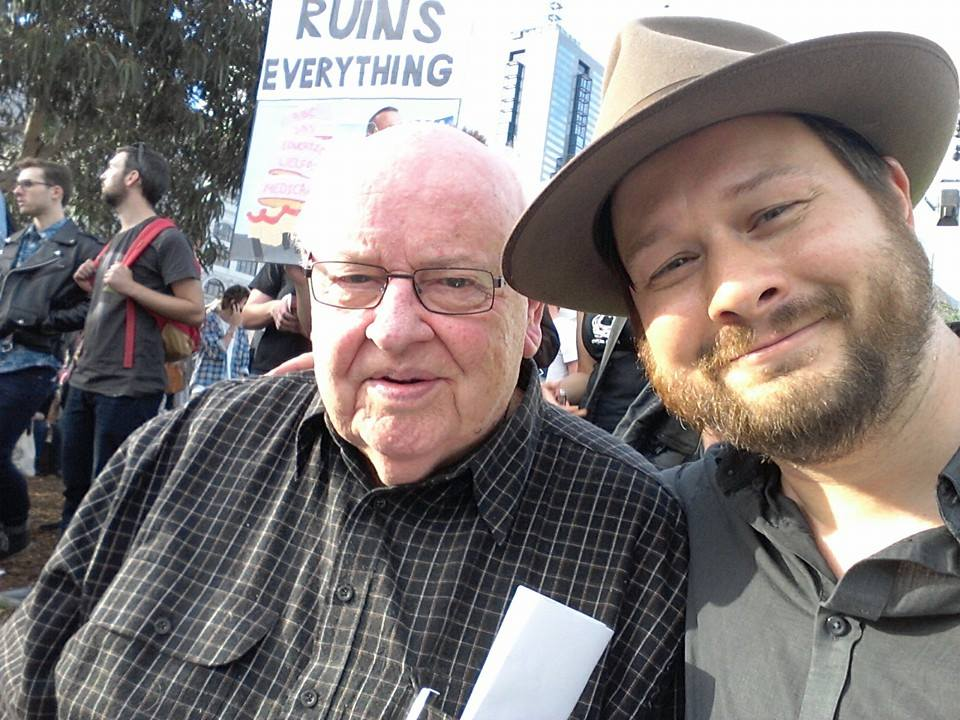 Father Bob Maguire and Les Thomas at March in May, Federation Square, Melbourne.